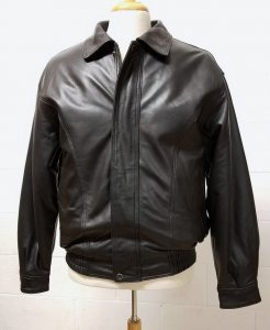 Men Genuine Leather Bomber Jacket Traditional Collar Zip Front