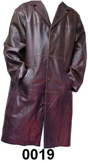 Leather Trench Coat Cow skin Duster Length