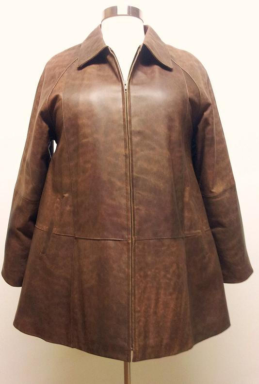 Lambskin Leather Swing Coat A Line [0119] : Lee Cobb Leather ...