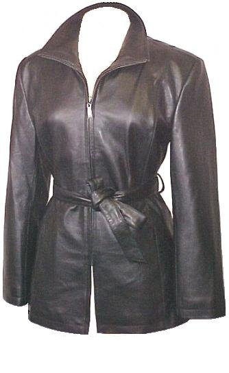 Lambskin Leather Trench Coat Belted