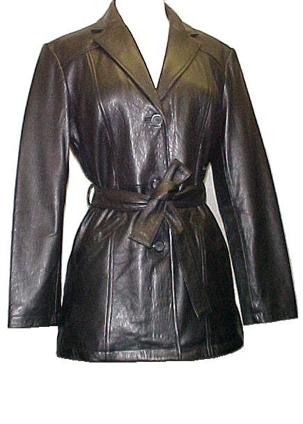 Lambskin Leather Trench Belted