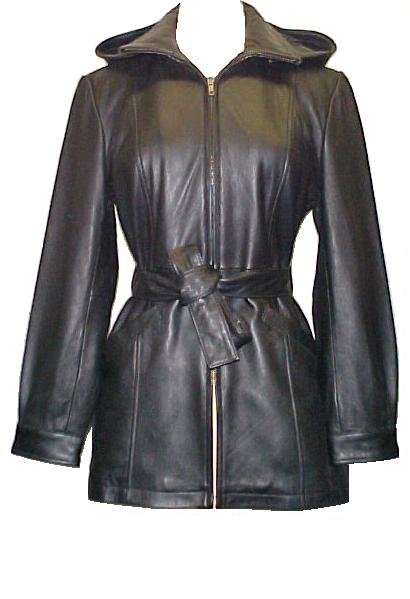 Lambskin Leather Trench Coat Belted Detachable Hood