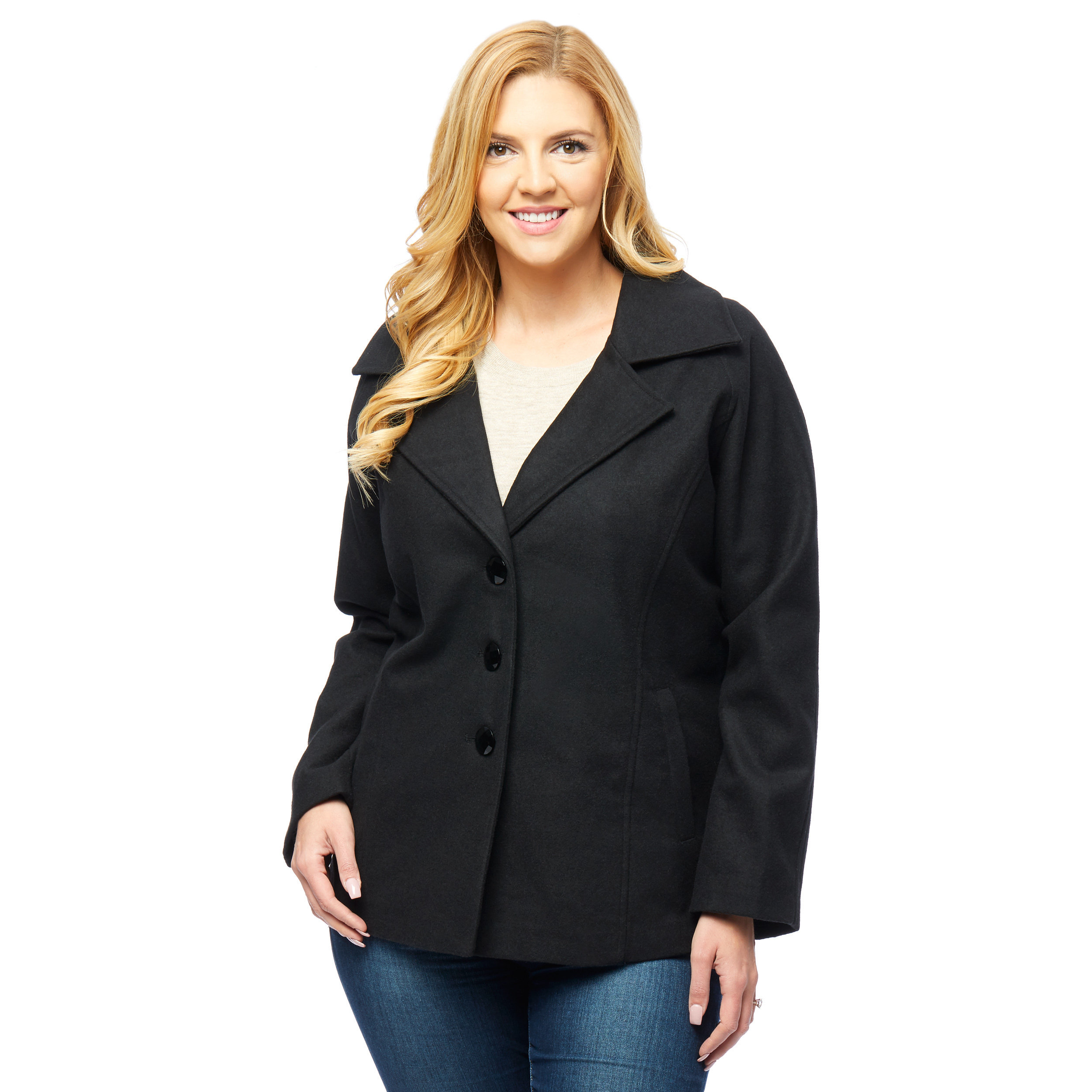 Women Single Breasted Pea Coat