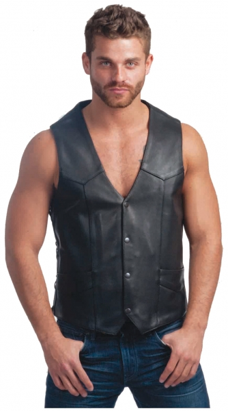 Motorcycle Leather Biker Vest with snap button