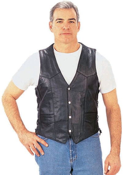 Side Laced Biker Leather Vest