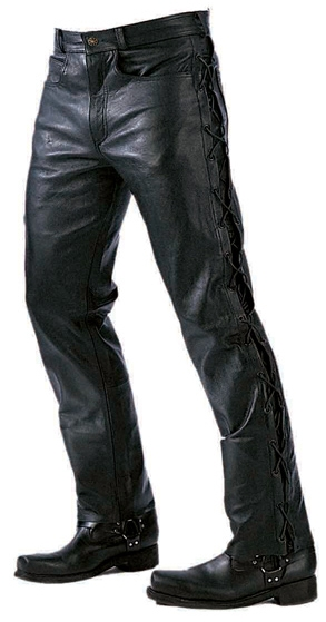 Men Laced Leather Pants (Available Online Only)