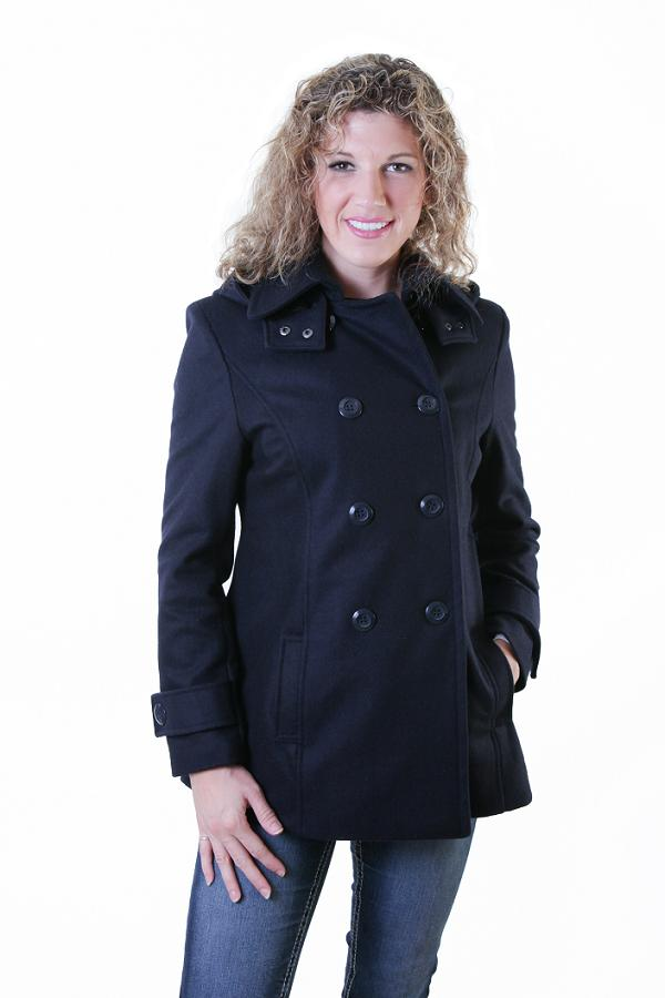 Double Breast Wool Trench Coat with Detachable Hood