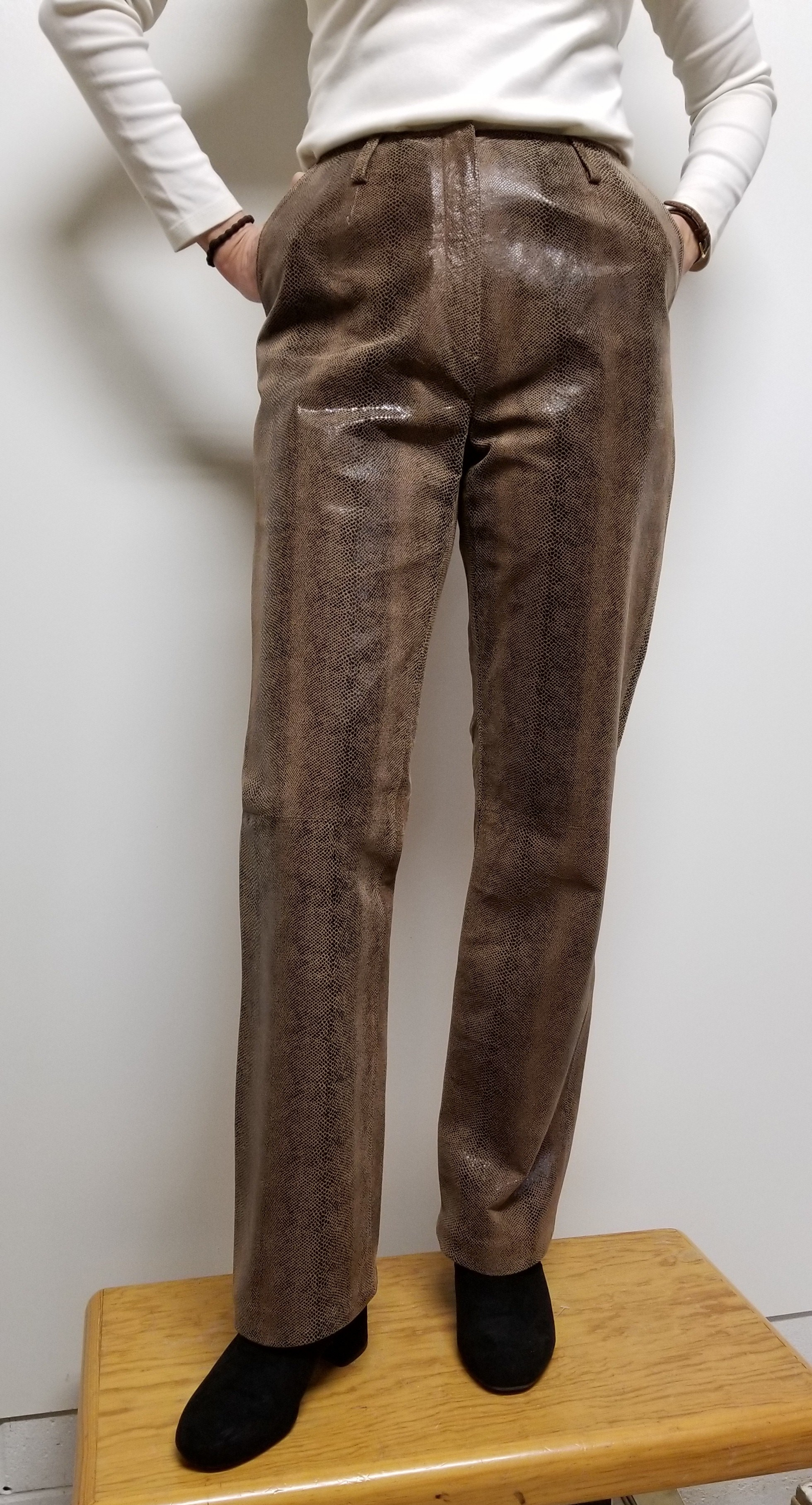 Women leather pants with animal print color Lt. Brown