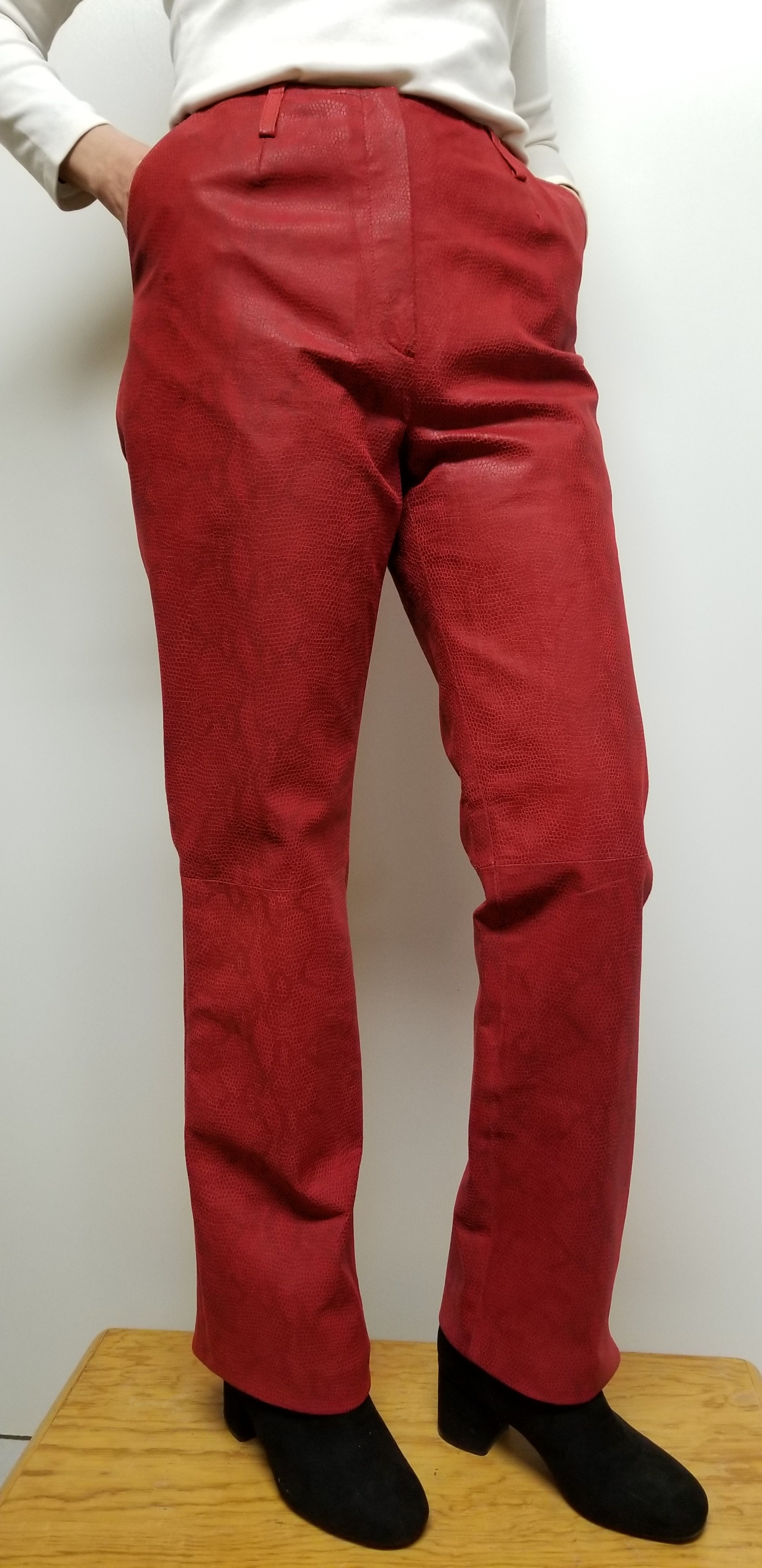 Women leather pants Suede with animal print color Red