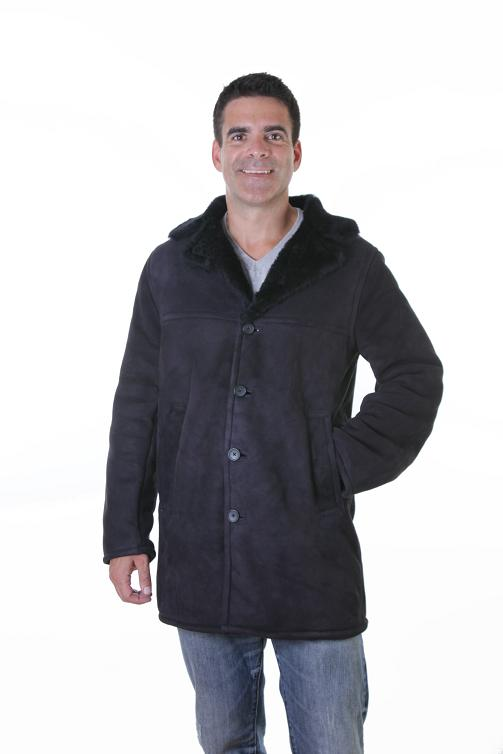 Men Shearling Trench Coat Jacket 3/4 Length Color Navy