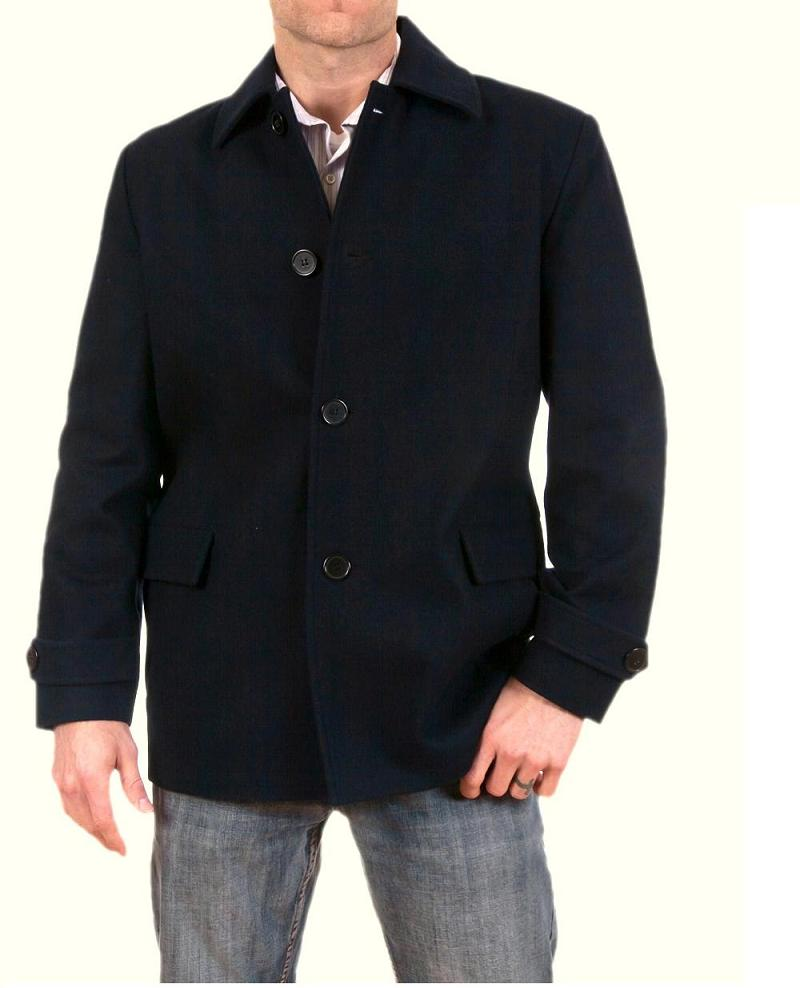Men Trench Coat Classic Wool Mid weight Jacket, Black