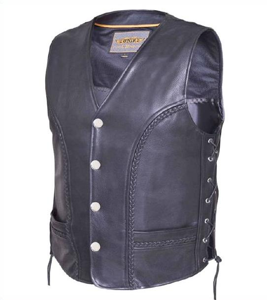Men Leather Biker Vest with Side Laces and Braids