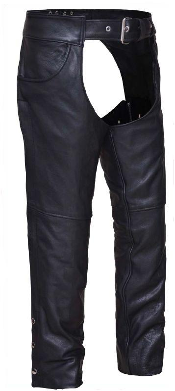 Leather Chaps Biker for Riding Jean Pockets