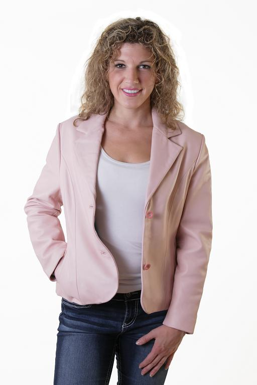 Lambskin Leather Blazer - Click Image to Close