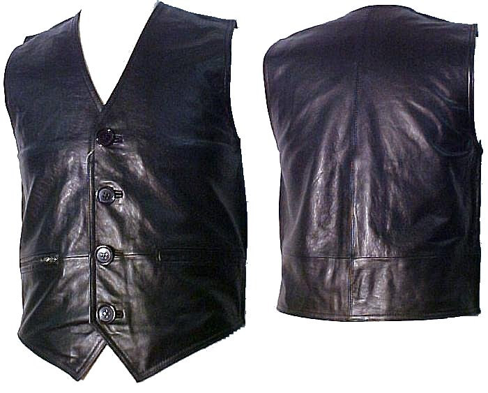 Lambskin Leather Vest with Pockets Color Black