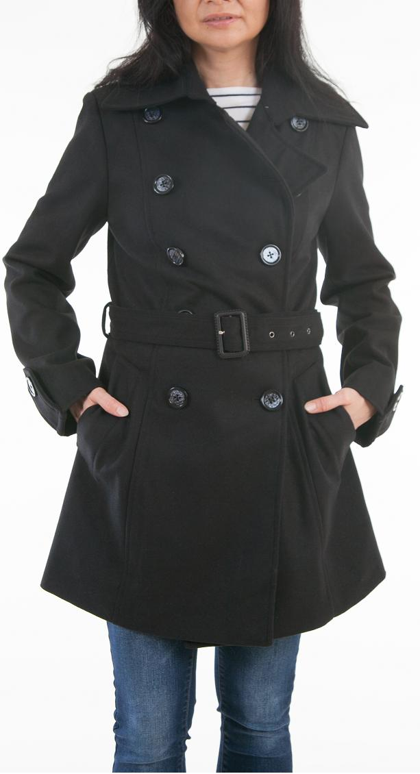 Trench Coat Belted Wool Blend
