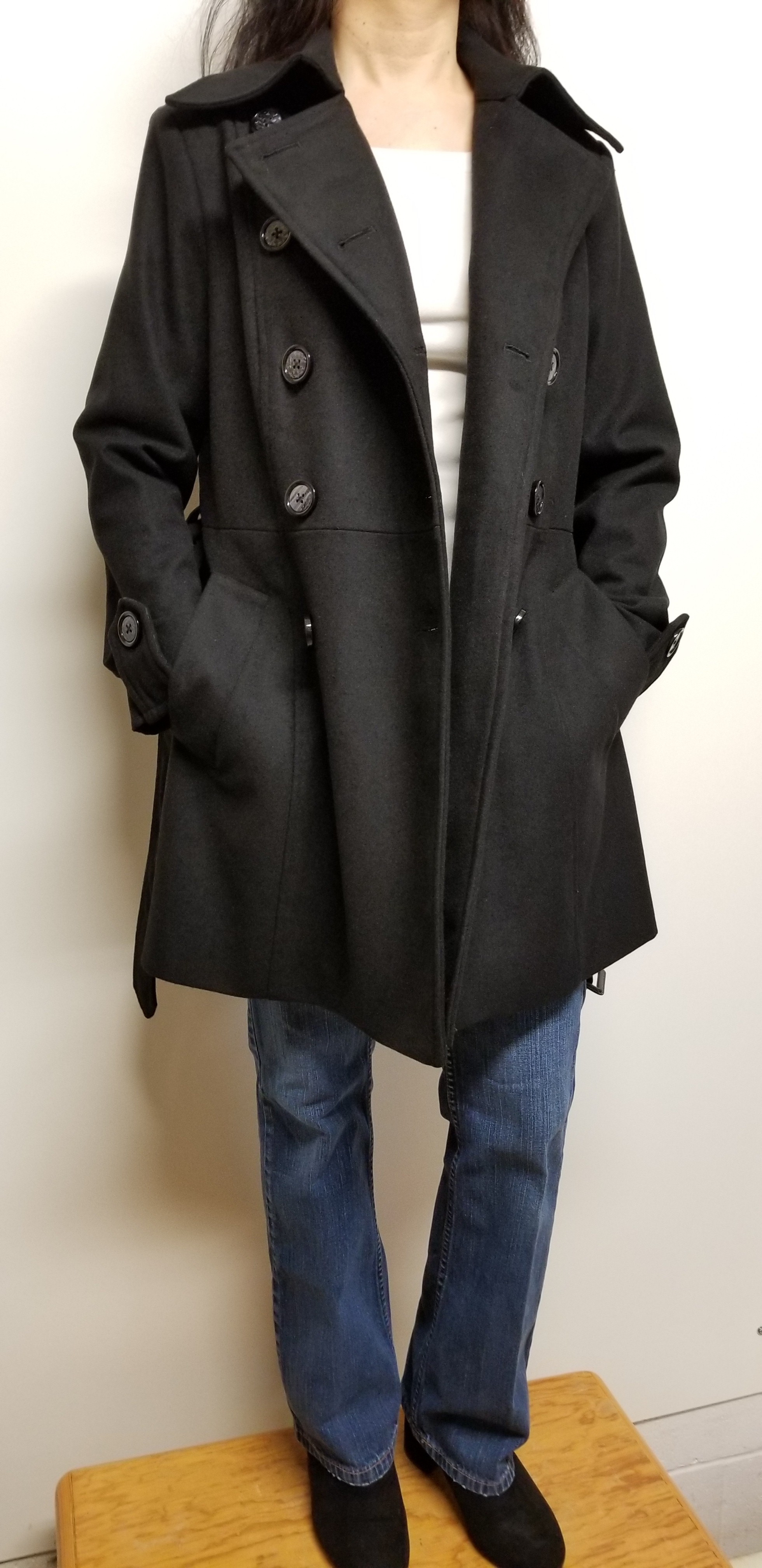 Women Pea Coat Trench Wool Double Breasted Long Black Color