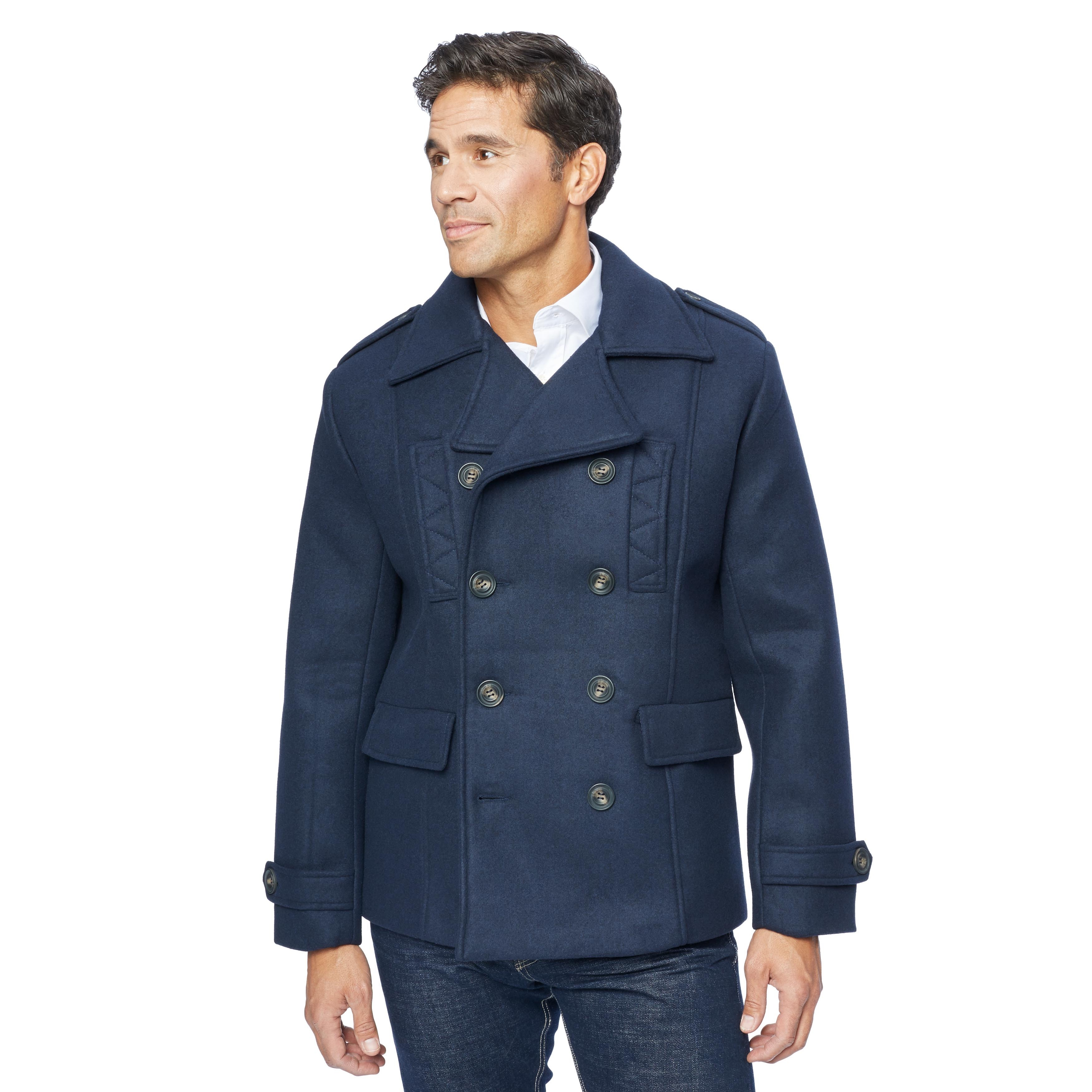 Men Pea Coat Wool and Warm, Color Blue