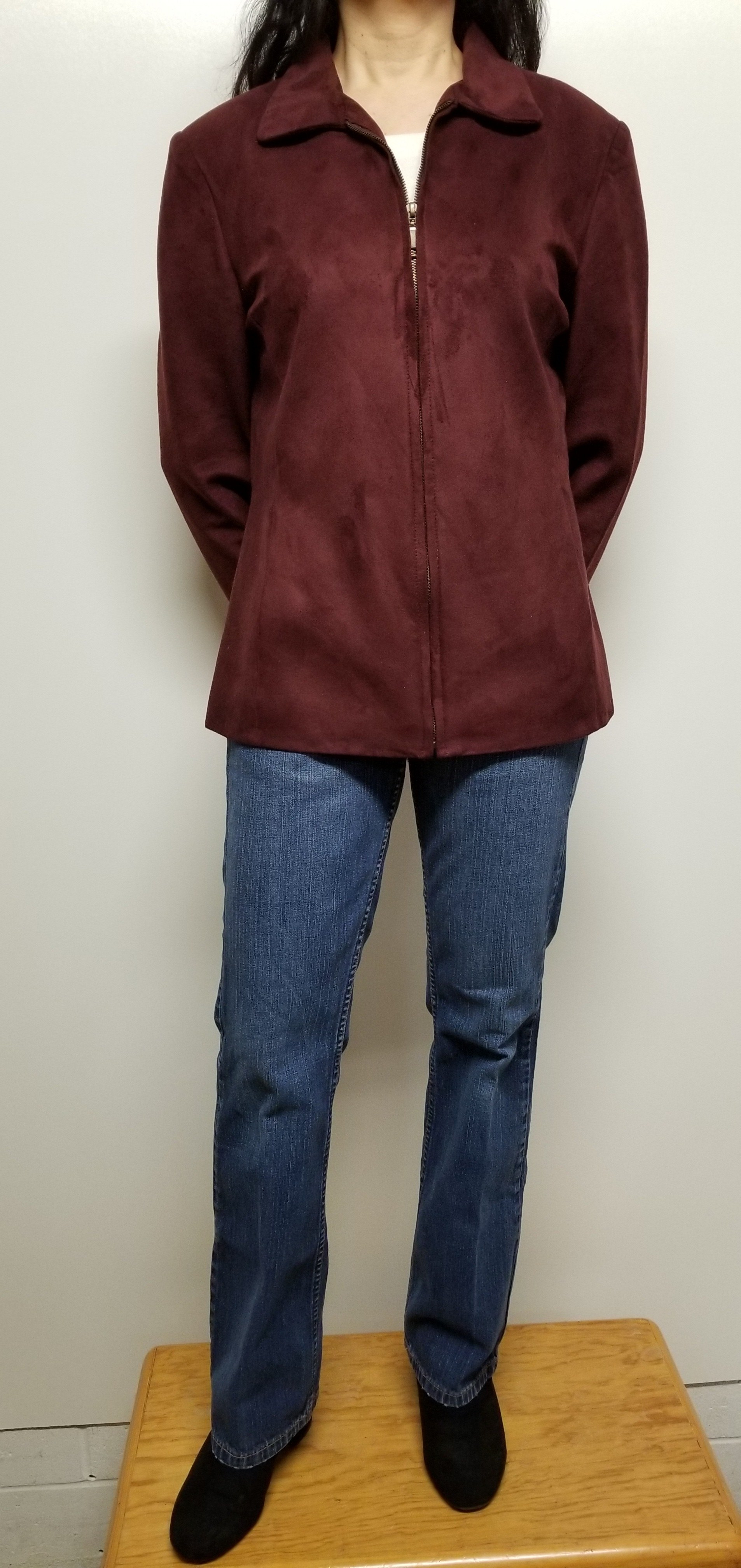 Women Fall Jacket Faux Suede Zip Front Color Burgundy