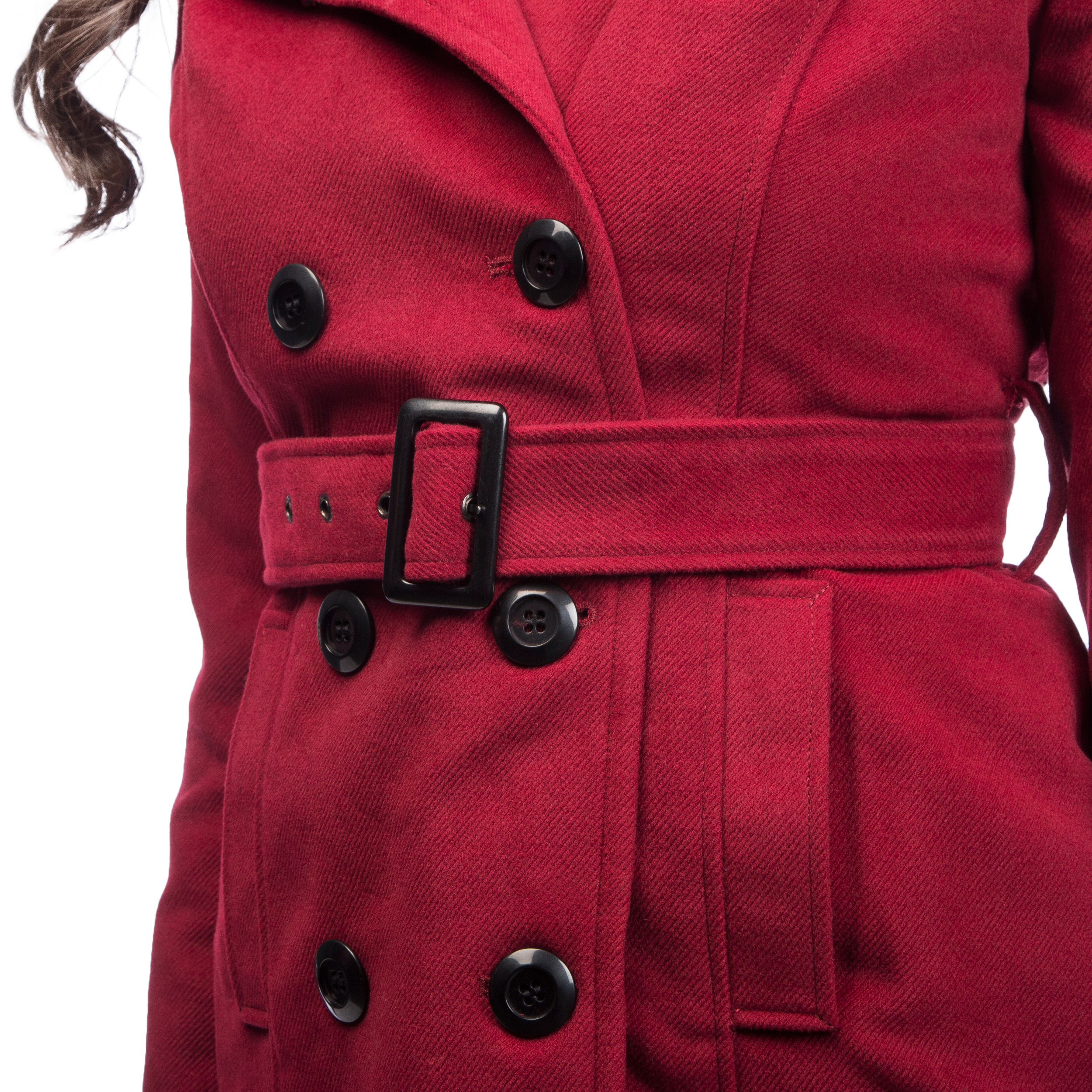 Double Breasted Trench Coat with Detachable Hood