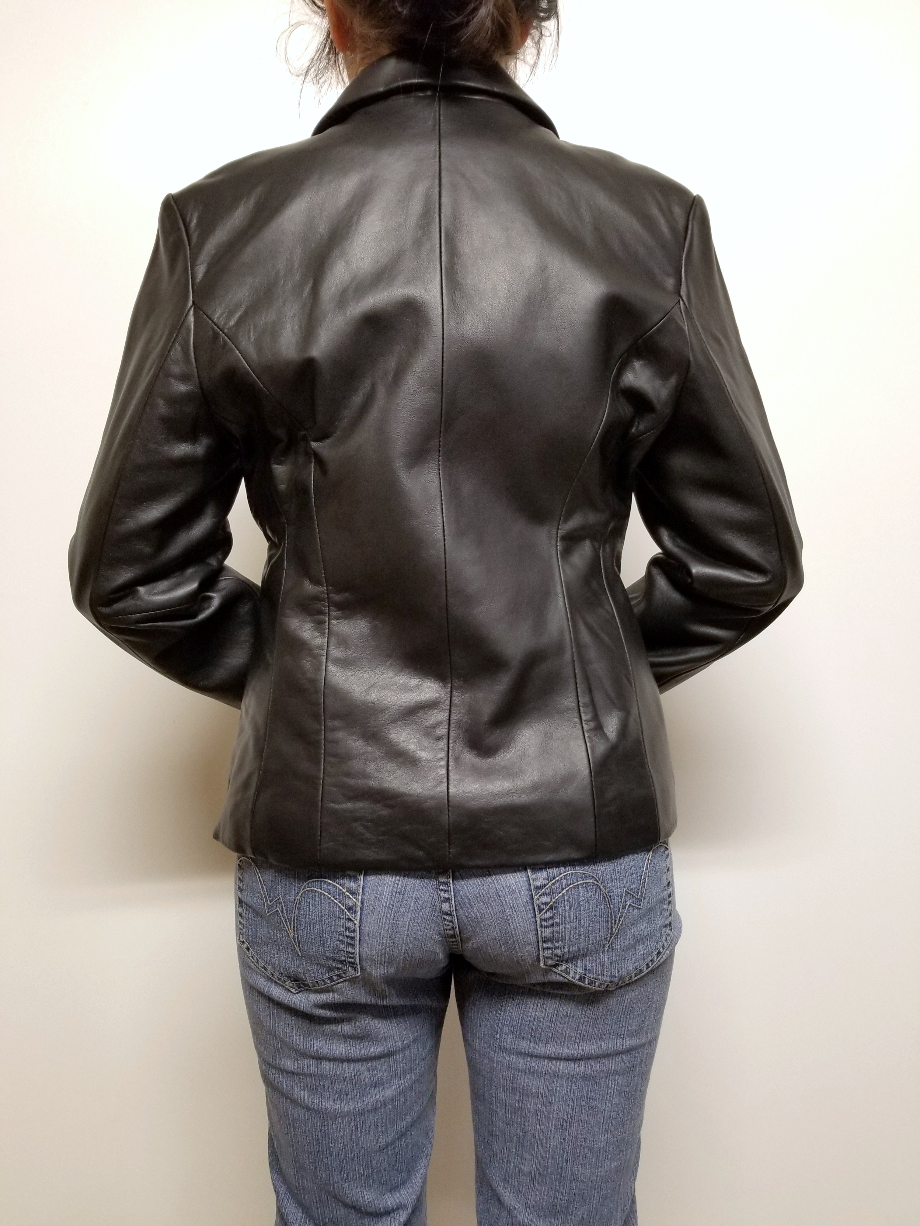 Women Lambskin Leather Soft Blazer Moto Jacket