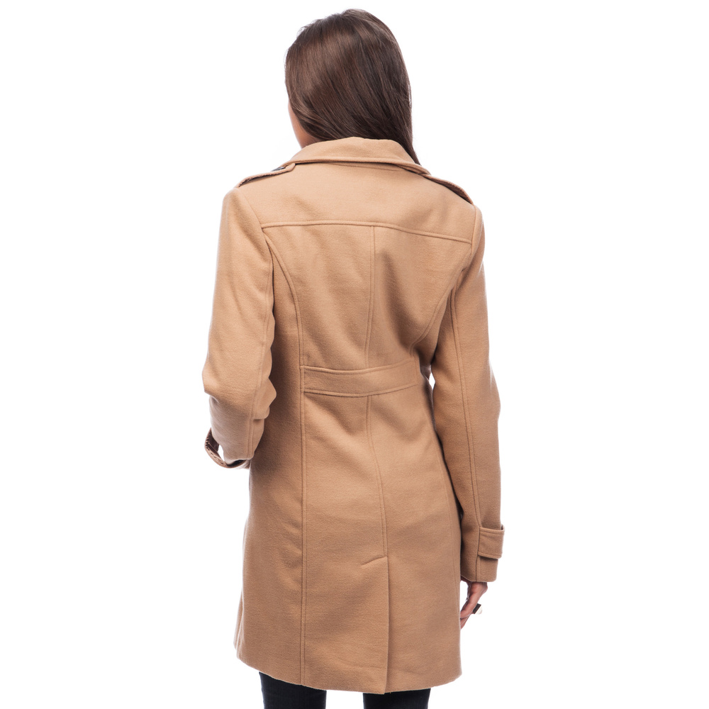 Women Trench Coat Single Breasted Color Carmel