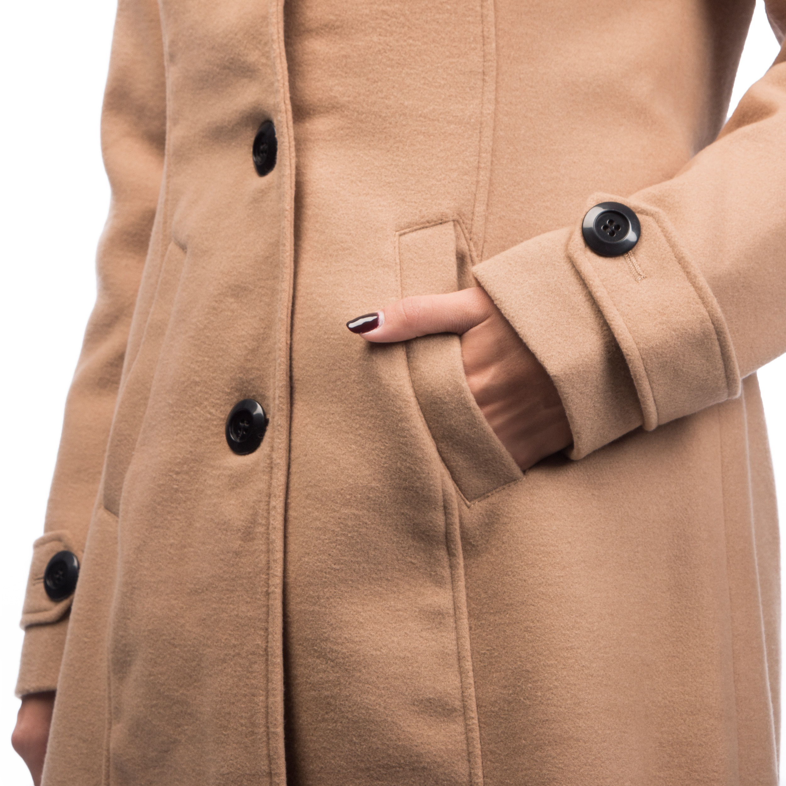 Women Trench Coat Single Breasted Color Carmel - Click Image to Close