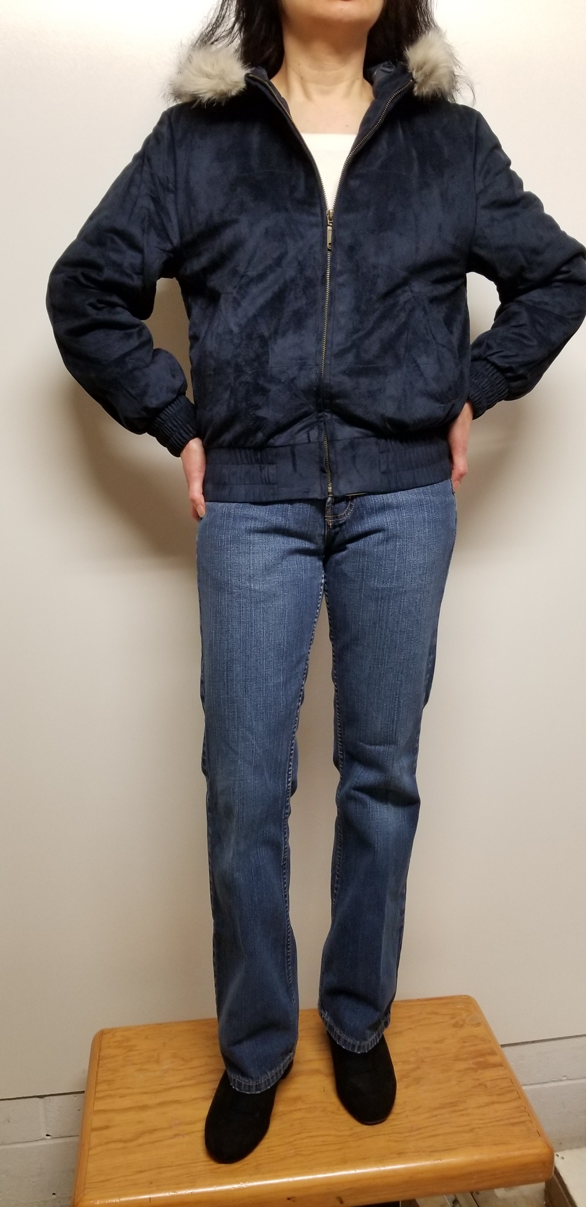 Bomber Jacket Faux Suede with Fur Trim Hood Navy Blue