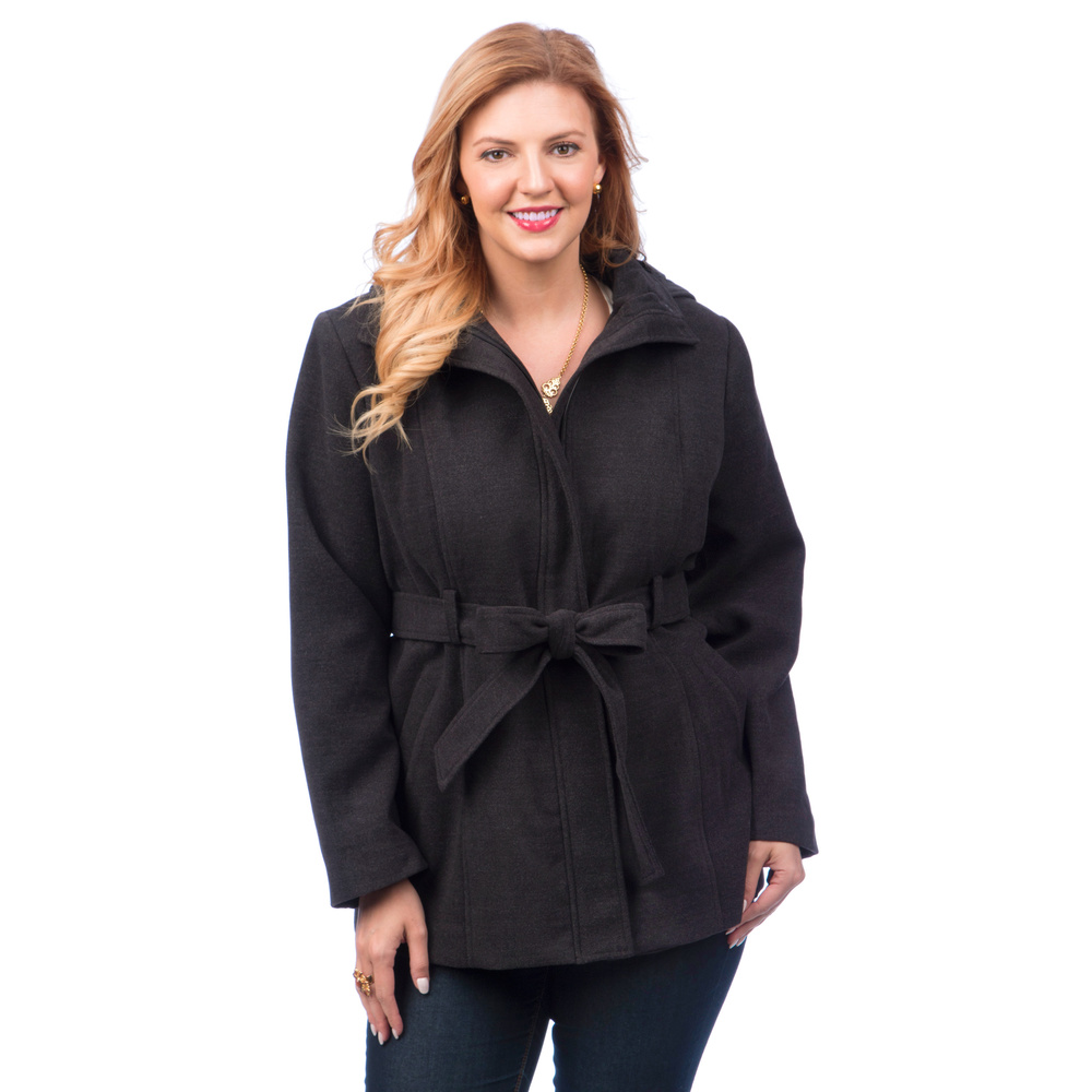 Women Plus Size Trench Coat with Belt & Detachable Hood