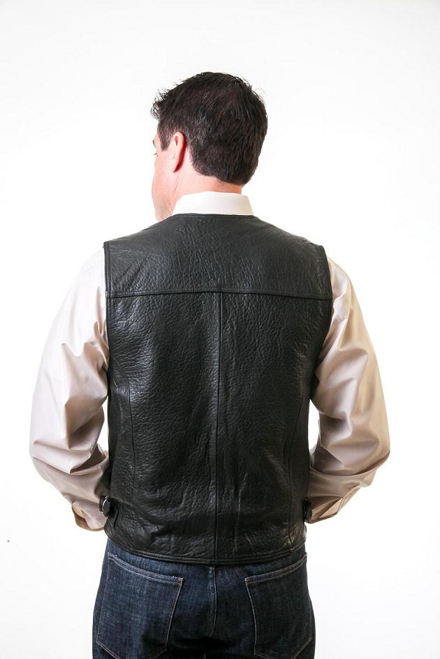 Leather Vest Black with Buckles