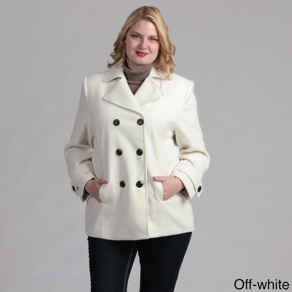 Women Plus Size Pea Coat Fully Lined in Off White Color