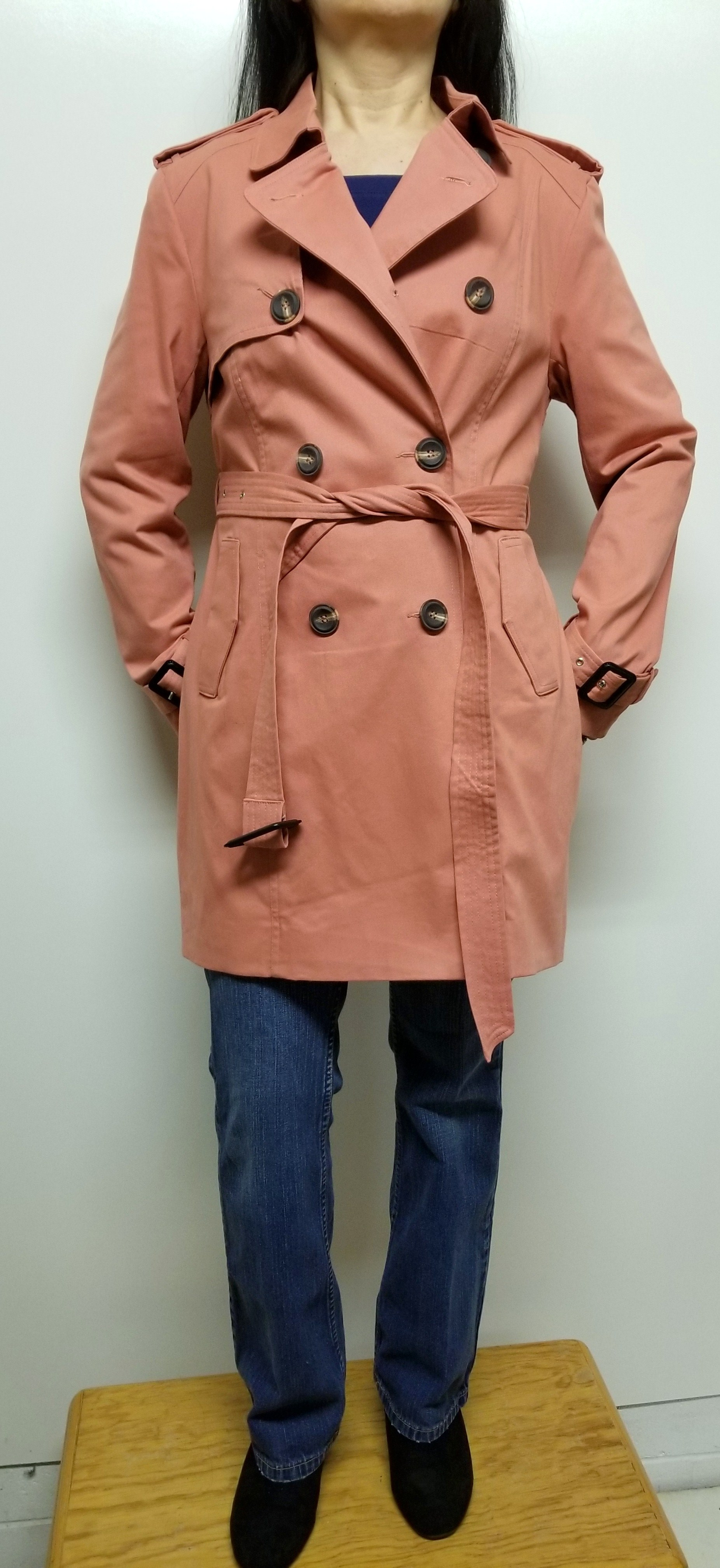 Women Trench Coat Double Breasted w/ Belt