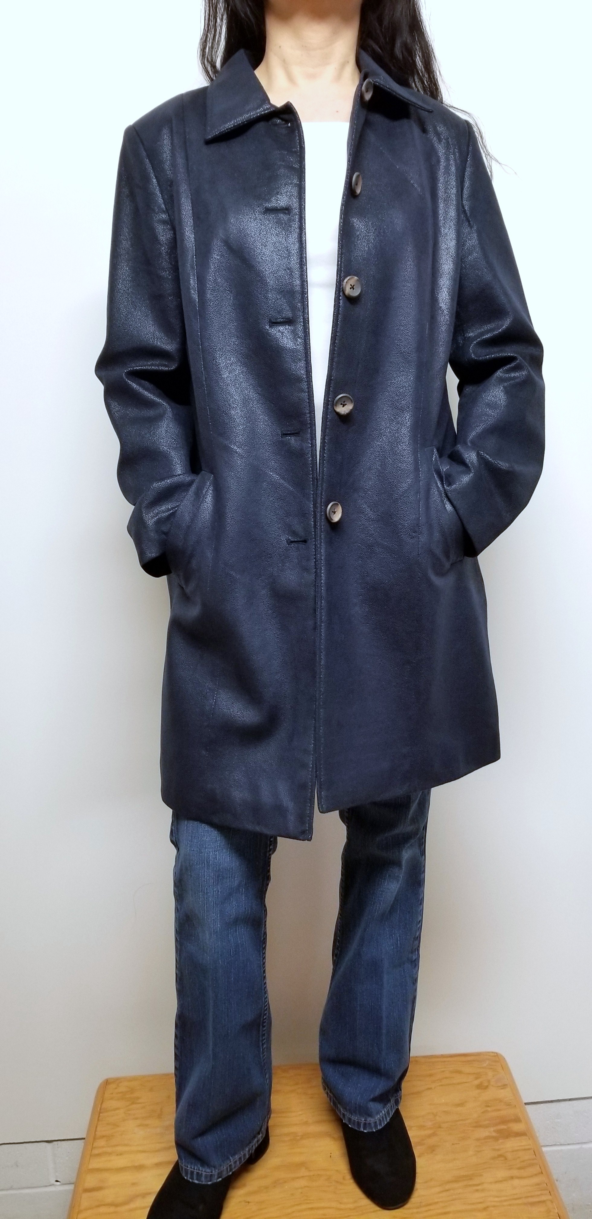 Women Trench Coat Long Lightweight Color Navy