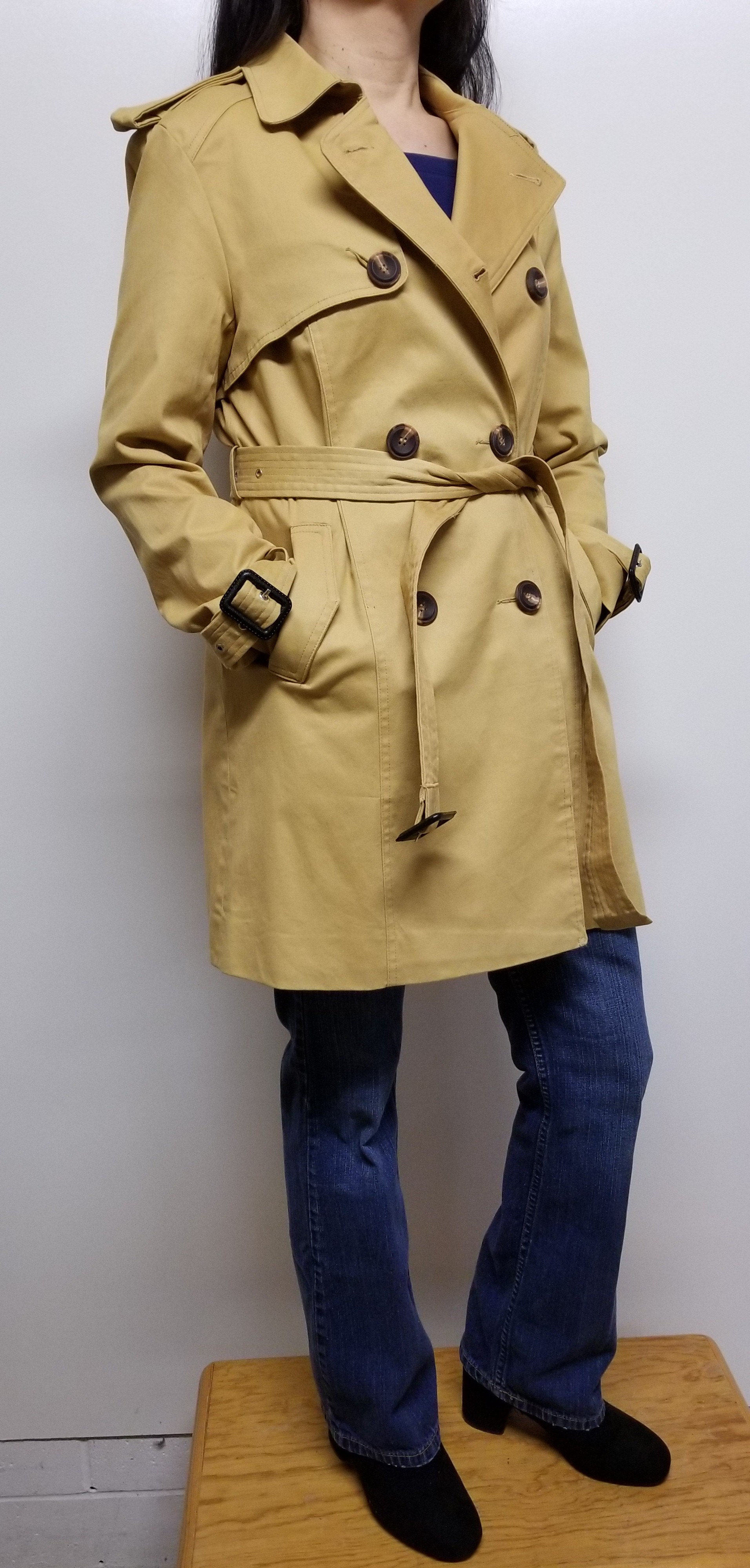 Women Trench Coat Double Breasted w/ Belt Long