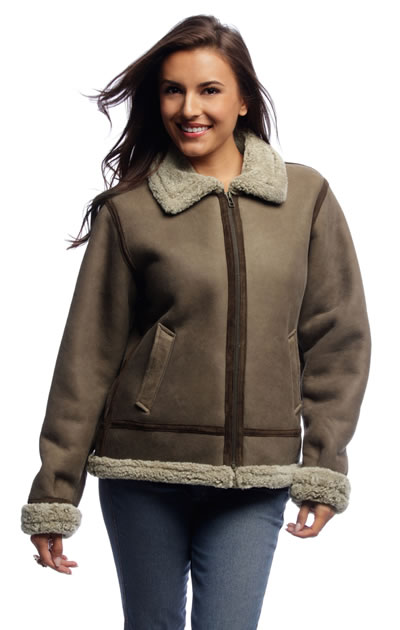 Women Shearling Bomber Jacket B3 Coat Fur Inside