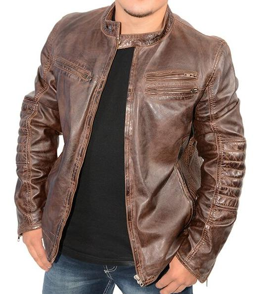 Men Lambskin Leather Hipster Biker Jacket