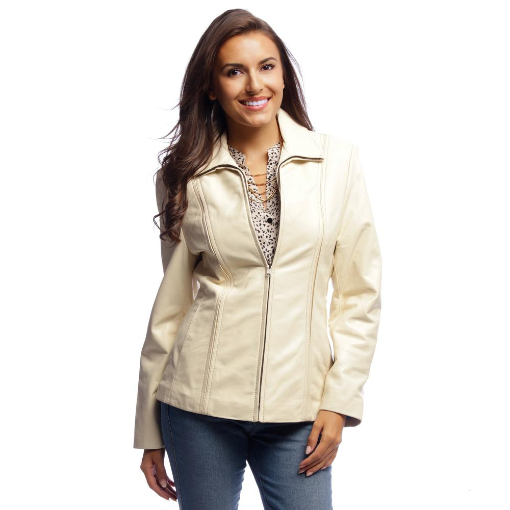 Lambskin Leather Jacket Ladies Scuba Ivory