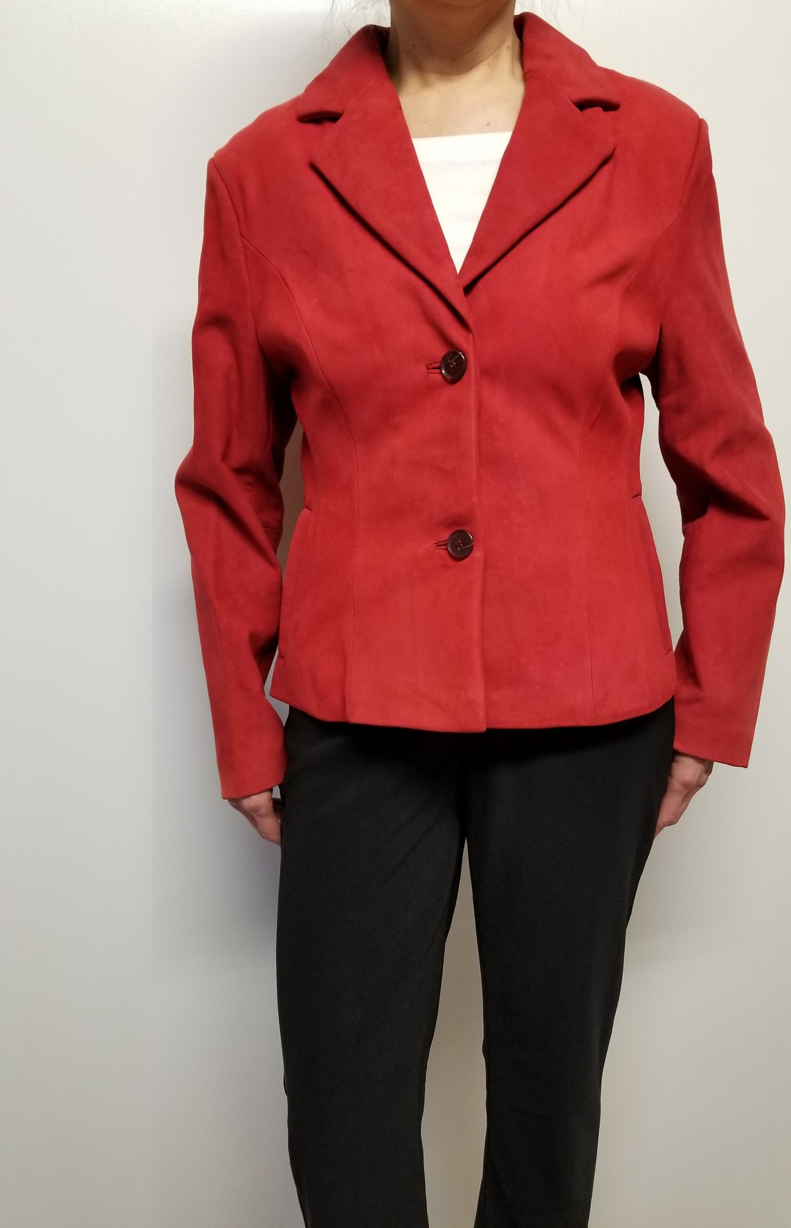 Women Suede Leather Blazer Jacket Color Red