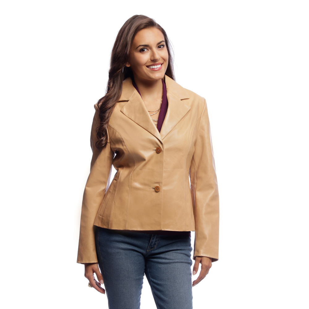 Women Leather Blazer Jacket 2 Button Front Closure