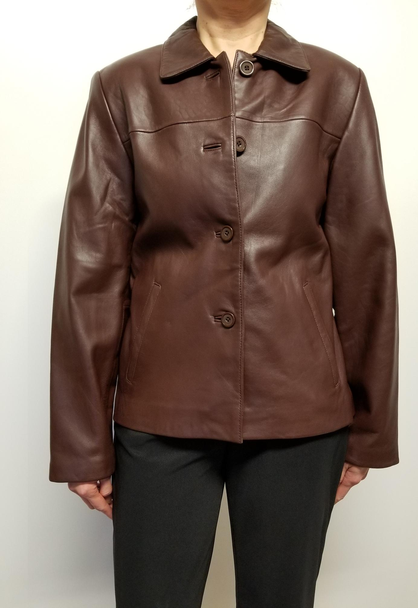Women Lambskin Leather Jacket Button Front Closure
