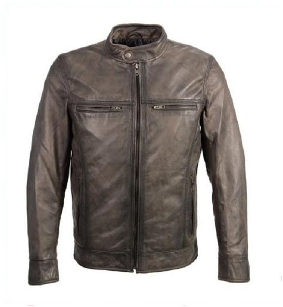 Men Lambskin Leather Moto Biker Jacket - Click Image to Close